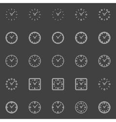 Clocks line icons vector image