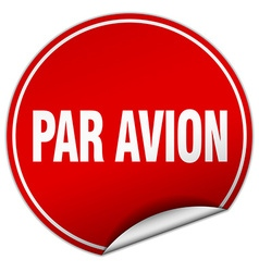 Par avion round red sticker isolated on white vector