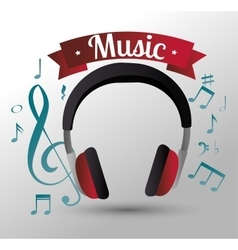 Music headphones isolated icon design vector