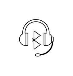 Bluetooth headphones with microphone icon vector