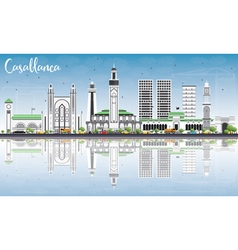 Casablanca Skyline with Gray Buildings vector image vector image