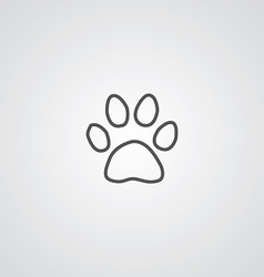 cat footprint outline symbol dark on white vector image vector image
