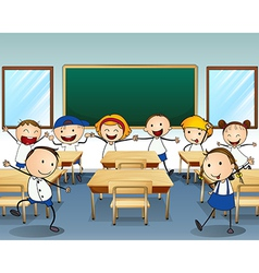 Children dancing inside the classroom vector