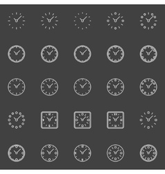 Clocks line icons vector image vector image