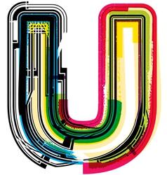 Colorful Grunge font LETTER U vector image vector image