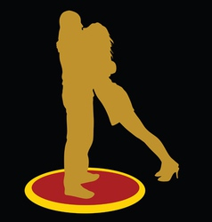 Couple kissing gold silhouette vector