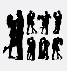 Couple loving people silhouettes vector image
