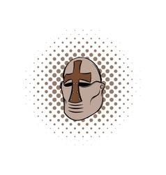 Crusader knight helmet comics icon vector