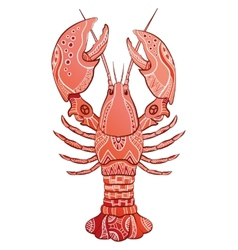 Decorative isolated lobster vector