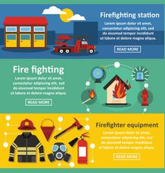 firefighting banner horizontal set flat style vector image vector image