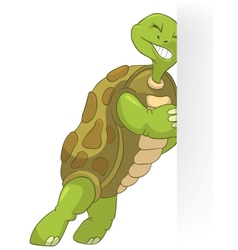 Funny Turtle Pushing vector image