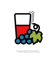 Glass of fresh grape juice icon thanksgiving vector