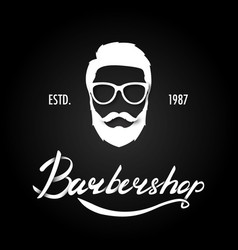 hand draw lettering in barber shop vector image