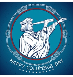 Happy columbus day seafarer with telescope vector