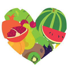 heart consisting of fresh fruits vector image vector image