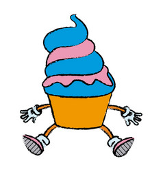 Mascot of an ice cream in cone frozen sweet vector