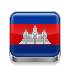 Metal icon of Cambodia vector image