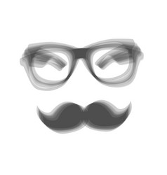 Mustache and glasses sign gray icon vector