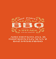 Sans serif extended font and barbecue label vector