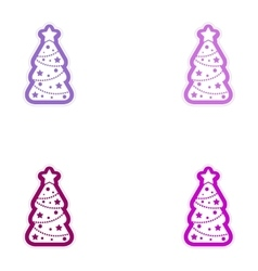 Set of paper stickers on white background tree vector