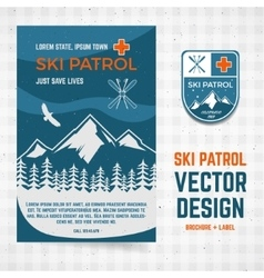 Ski patrol brochure and label The camp vector image