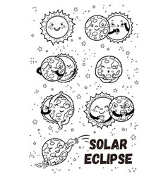 Solar eclipse in phases outline set vector