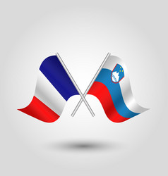 Two crossed french and slovenian flags vector