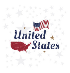 Usa lettering with flag and map vintage label vector