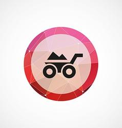 wheelbarrow circle pink triangle background icon vector image vector image