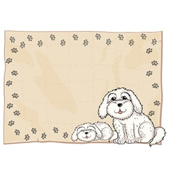 Two white dogs beside a frame vector image