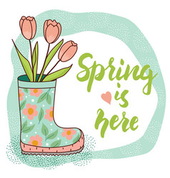 Spring card with rain boot and tulips vector