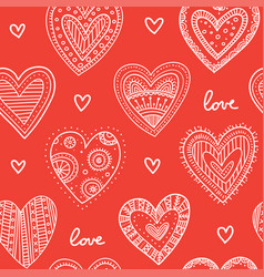 Boho ornamental hearts seamless pattern red vector