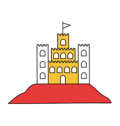 Silhouette color section of sand castle with flag vector