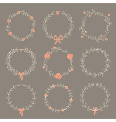 Set of 9 hand drawn wreaths vector image