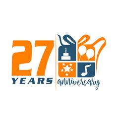 27 year gift box ribbon anniversa vector