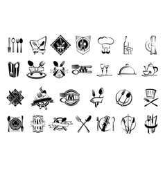 Food restaurant and silverware icons set vector