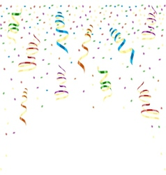 Multicolor curling ribbons with stellar confetti vector