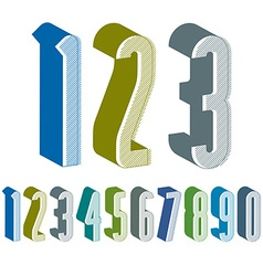 3d extra tall numbers set made with round shapes vector