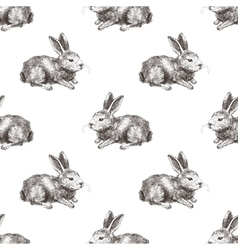 Seamless pattern with hand drawn rabbit vector