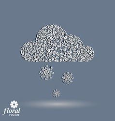 Winter snowing cloud with snowflakes weather vector