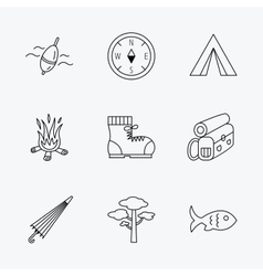 Pine tree fishing float and hiking boots icons vector