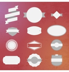 Vintage white Labels Set on colorful Background vector image
