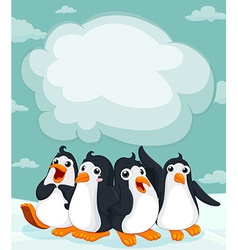 Group of penguin on the ice vector image