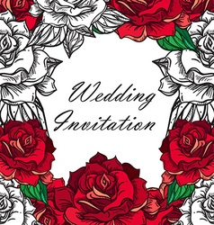 Hand drawn wedding rose frame vector