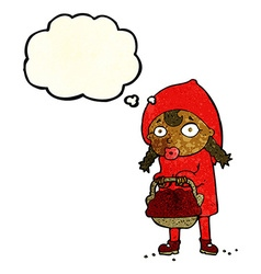 Little red riding hood cartoon with thought bubble vector