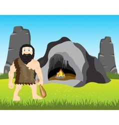 Ancient person beside caves vector