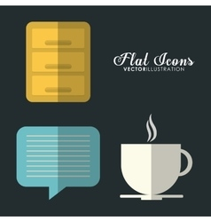 Bubble and mug icon office instrument design vector