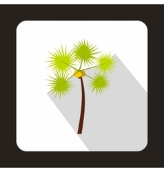 Coconut palm tree icon flat style vector