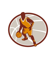Basketball Player Dribbling Ball Oval Retro vector image