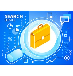 Bright search glass and work suitcase on blu vector